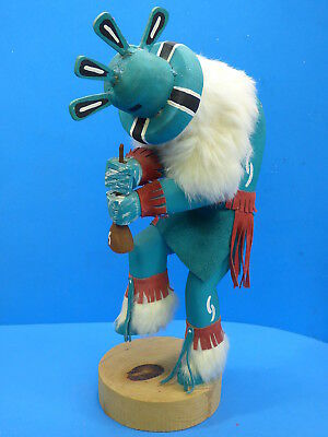 Kokopelli Flute Player Turquoise color native american Kachina handmade  K12