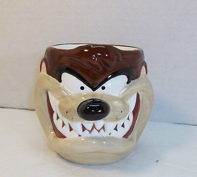 Vintage 1995 Looney Tunes 3-D Taz Tasmanian Devil Ceramic Mug Cup Applause