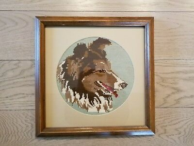 Collie Dog Framed w/glass & Matted Needlepoint Wall Hanging; Beautiful from 1992