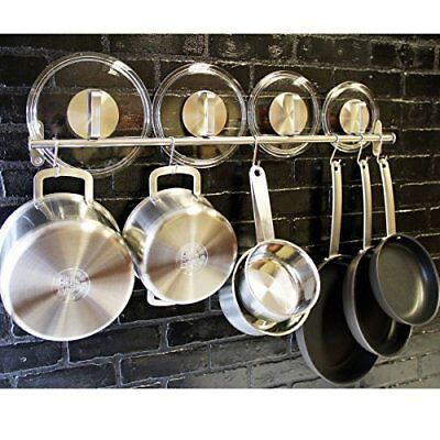 Pot And Pan Organizer Wall Mount Rack Rail Hanging Kitchen Hook Holder Systm New