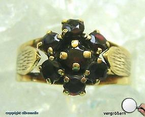 Granatring Ring mit Granate Granat in aus 333 Gold Finger Damen Antik Ringe Gr51