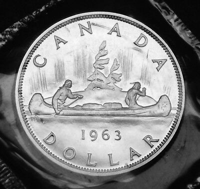 1963 Canadian silver $1 coin:  gorgeous prooflike in original mint plio
