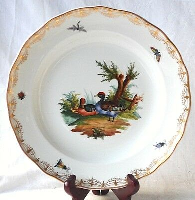 C19Th Meissen Hand Painted Plate With A Wavy Rim Decorated With Ducks