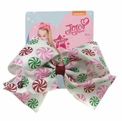 NEW JoJo Swia Large Holiday Christmas Peppermint Candy Bow Christmas stocking