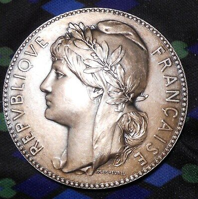 French Marianne Silvered Bronze Medal by Alphonse Lechevrel and  Henry Dubois