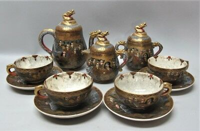Antique IMPERIAL QUALITY SATSUMA Meiji-Era Porcelain Tea Service  c. 1880  MINT