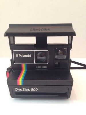 Vintage Polaroid One Step 600 Land Camera Rainbow Stripe With Strap Untested