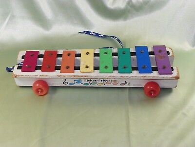 Vintage Made In U.S.A. Fisher-Price Pull Xylophone Number 870