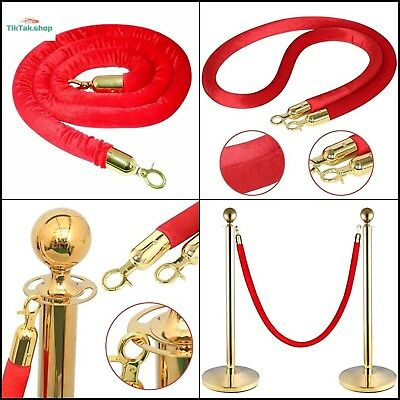 Crowd Control Stanchion Red Velvet Barrier Rope with Gold Plated Hooks 1500mm