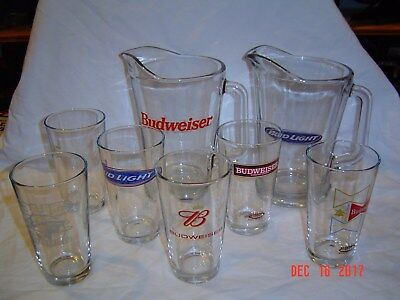 2Budweiser & Bud Light Glass Beer Pitchers with 6 Pint Glasses Anheuser Busch