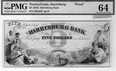 1850s $5 Harrisburg Pennsylvania PROOF ! CH. UNC.-64 By PMG.