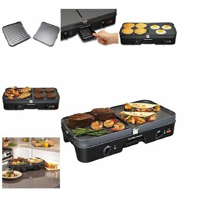 3-IN-1 INDOOR Electric Grill & Griddle, 180 Sq. In. Large Countertop ...