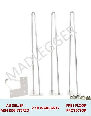 4x WHITE HAIRPIN LEGS - 12MM RODS - POWDER COATED WHITE- 45CM & 71CM