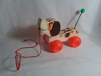 Vintage 1968 Fisher Price Little Snoopy Dog Pull Toy Wooden Dog - as is
