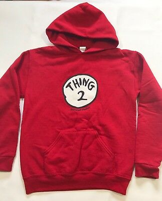 Dr. Seuss Thing 2 Red Hoddie Sweater Universal Studions Unisex sz Small 8-10