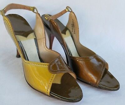 1950s DEADSTOCK Brown and Gold Patent Leather Open Toe Slingbacks Size 5.5AAA