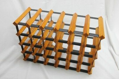 28-30 Bottle BORDERS Timber Wine Rack - ONYX BLACK/MAHOGANY + Free Postage