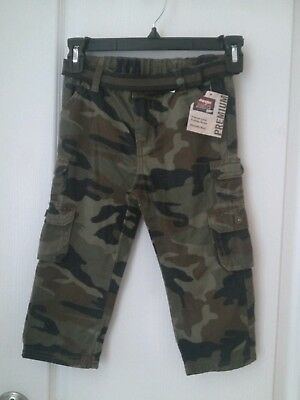 NWT WRANGLER TODDLER BOY PREMIUM BELTED CAMO CARGO PANTS 3T Free Shipping