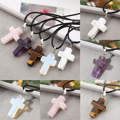 Natural Quartz Crystal Gemstone Cross Pendant Necklace With Black Leather Chain