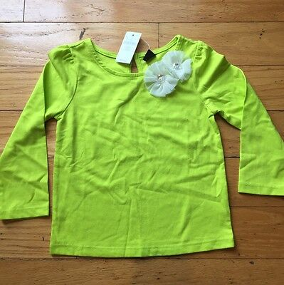 Nwt Gap Girls Size 3 Years Green Long Sleeve With White Flowers
