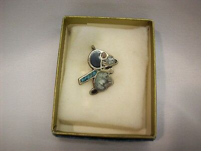 "Snoopy Peanuts stone inlay necklace pendant, ""Flying Ace - turquoise scarf"""