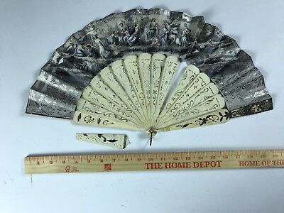 Antique Folding Fan Hand Painted Double Sided Signed Bone BV 1013 Carved 1800's