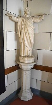 + 95 Year Old Statue of Jesus with Pedestal + Old Plaster + For Church Use +