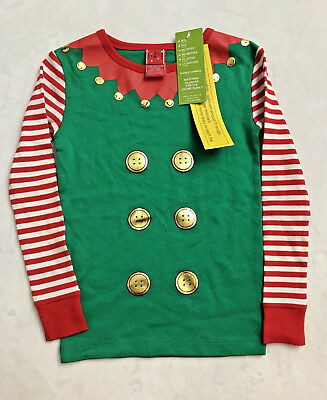 Christmas Sleep Top Shirt Unisex Kids Size 5 Pajama Top Cotton Elf