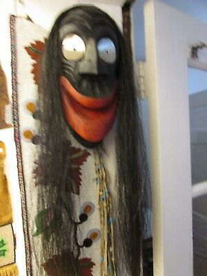 """Woodlands Mask    signed Sky   full size likely from Iroquois """"Irocrafts carvers"""