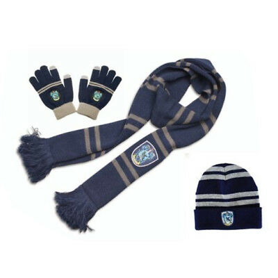 Harry Potter Ravenclaw Scarf+Cap+Touch Glove Harry's Warm Soft Scarf XMAS Gift