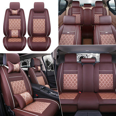 AU Coffee PU Leather Seat Covers Car 5-Seats Front+Rear+Neck Lumbar Pillows Set