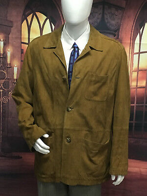 BROOKS BROTHERS Suede Leather Blazer Jacket Button Brown Sz L