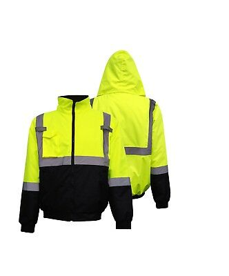 Safeguard Hi Vis Class 3 Insulated Safety Bomber Jacket Winter Fleece Lined