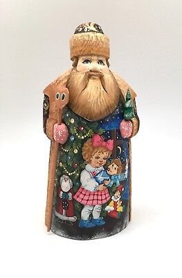 """10"""" Tall Russian SANTA NUTCRACKER Fairytale Wooden Hand Carved Hand Painted"""