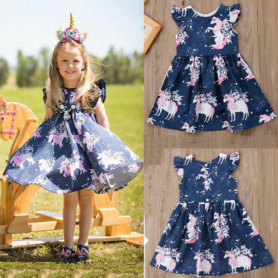 AU Stock Toddler Kid Girls Floral Unicorn Pringting One-Piece Pageant Skirts New