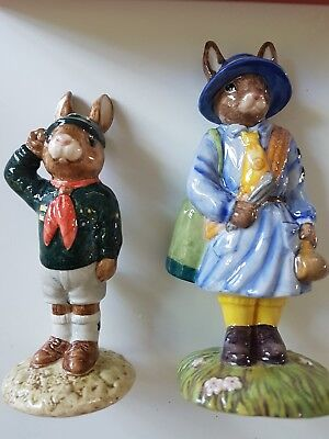 2 royal doulton Bunnykins figurine Be Prepared ( Scout) DB56 & Girl Guide DB431