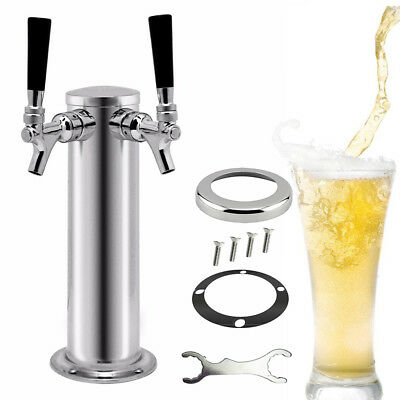 Double Tap Draft Beer Tower Stainless Steel w/ 2 Faucets Keezer Kegerator Silver