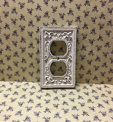 Fleur De Lis Electrical Plate Cover Ornate Off White Shabby Chic FDL French