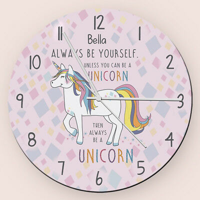 Children's Personalised Magical Unicorn Glass Bedroom Clock - Add Girls Name