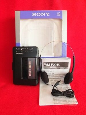 Mod. 1990 Sony FM/AM Walkman WM-F2015 WMF2015 Boxed Headphones MDR-006 Manual