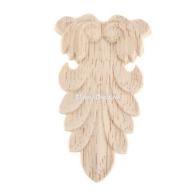 1x Wood Carved Corner Onlay Applique Unpainted Cabinet Furniture Home Decoration
