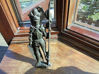 Antique Bronze Door Knocker-Medieval Jousting Knight-With Lance & Shield