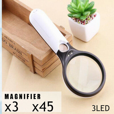 3 LED Light 3X 45X Handheld Magnifier Magnifying Glass Reading Jewelry Loupe