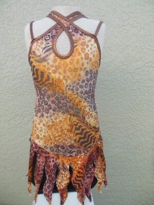 GIRLS CURTAIN CALL Metallic LEOPARD DANCE Ice Skate COSTUME SIZE CHILDS SMALL