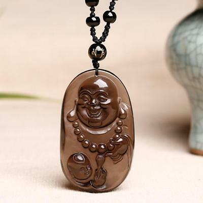 Chinese Natural Ice Obsidian Hand-Carved Blessing Maitreya Buddha Pendant
