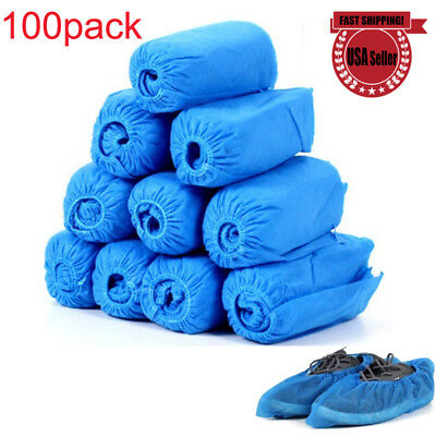 100*Dustproof Breathable Fabric Disposable Shoes Covers Elastic Band Anti-slip