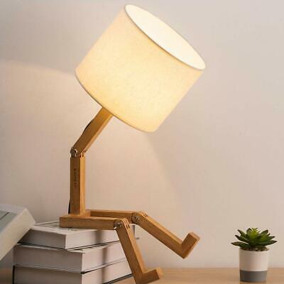 HAITRAL Adjustable Creative Table Lamp With White Fabric Shade Natural Wood Base
