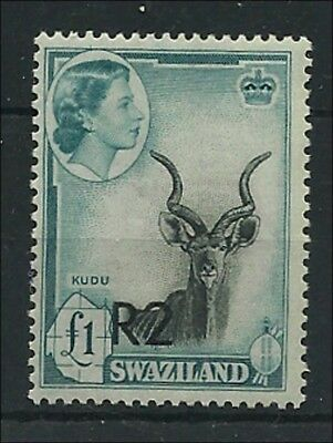 (3702) Swaziland 1961 Q.E.  2 Rand  overpr.  typ II at the bottom, mint n.h.