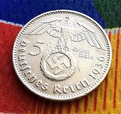1936 J  5 Mark German WW2 Silver Coin Third Reich Swastika Reichsmark
