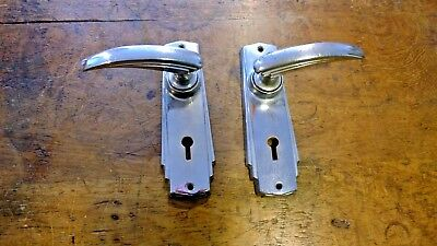 Reclaimed Pair Of Art Deco Chrome On Copper Door Handles Lever Knobs